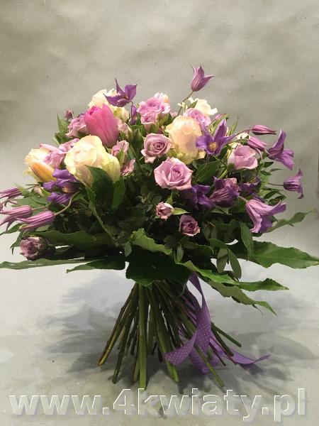 Bukiet lilaróż, Duży bukiet kwiatów spiralnie wiązany. Bukiet z róż, tulipanów, powojnika. Bukiety z dostawą