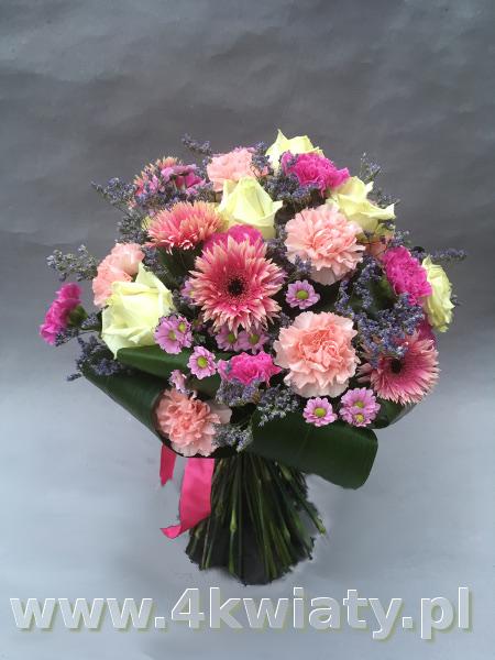 Kolorowy bukiet, gerbery, goździki, róże, margerytki, chryzantema gałązkowa santini.
