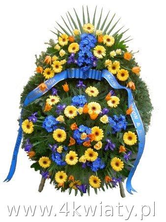 Wieniec na pogrzeb kolorowe kwiaty: żółte i niebieskie.