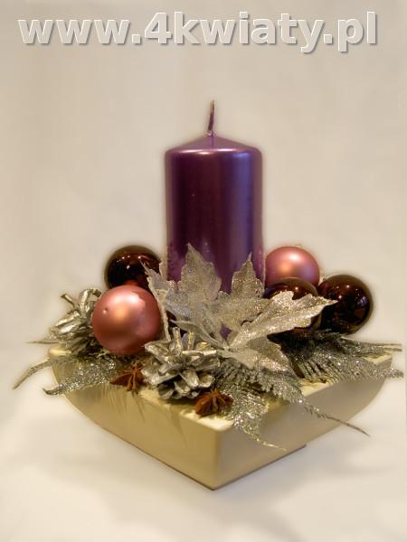 Stroik bożonarodzeniowy naczynie ceramiczne fioletowa świeca różowe bombki srebrny. Dostawa.