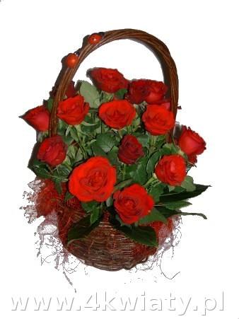 Koszyk z czerwonymi różami. Kosze z kwiatami z dostawą.
