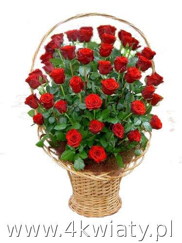 Kosz 50 czerwonych róż. Kosze z kwiatami dostawa Warszawa