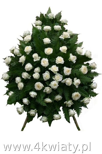 Wieniec na pogrzeb z białych róż. Wieniec pogrzebowy białe kwiaty