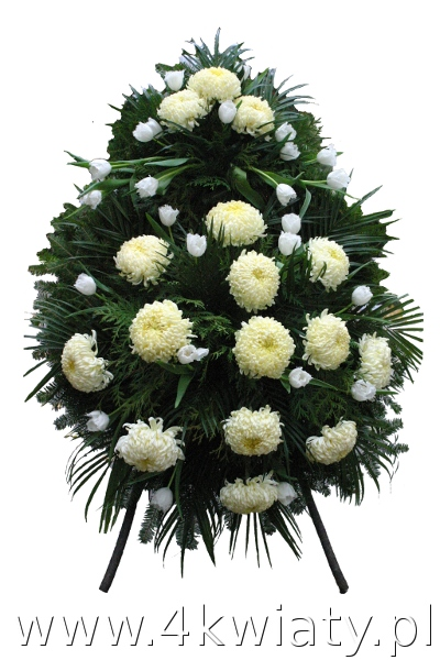 Wieniec pogrzebowy z białych kwiatów, chryzantem.