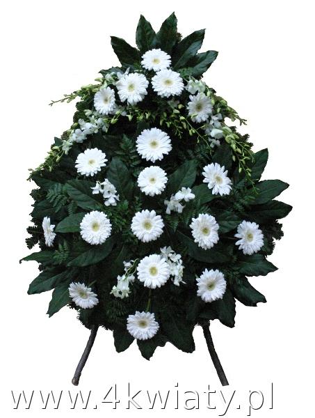 Wieńce na pogrzeb z białych kwiatów, gerber.
