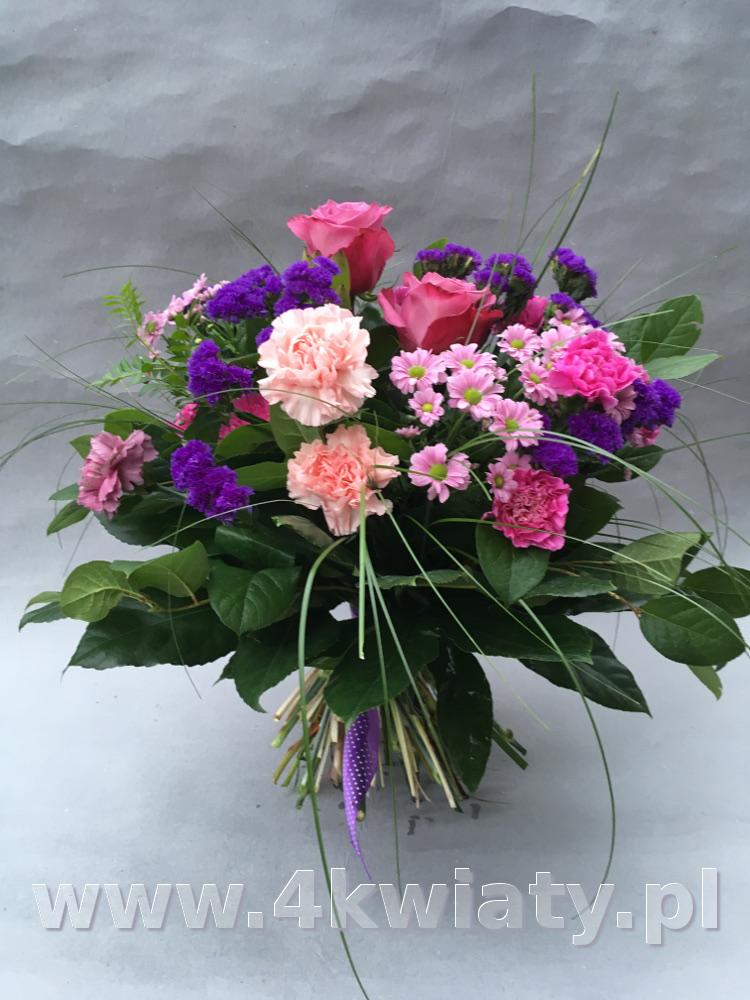 Bukiet kwiatowy mix: goździki, róże, zieleń. Bukiet z dostawą