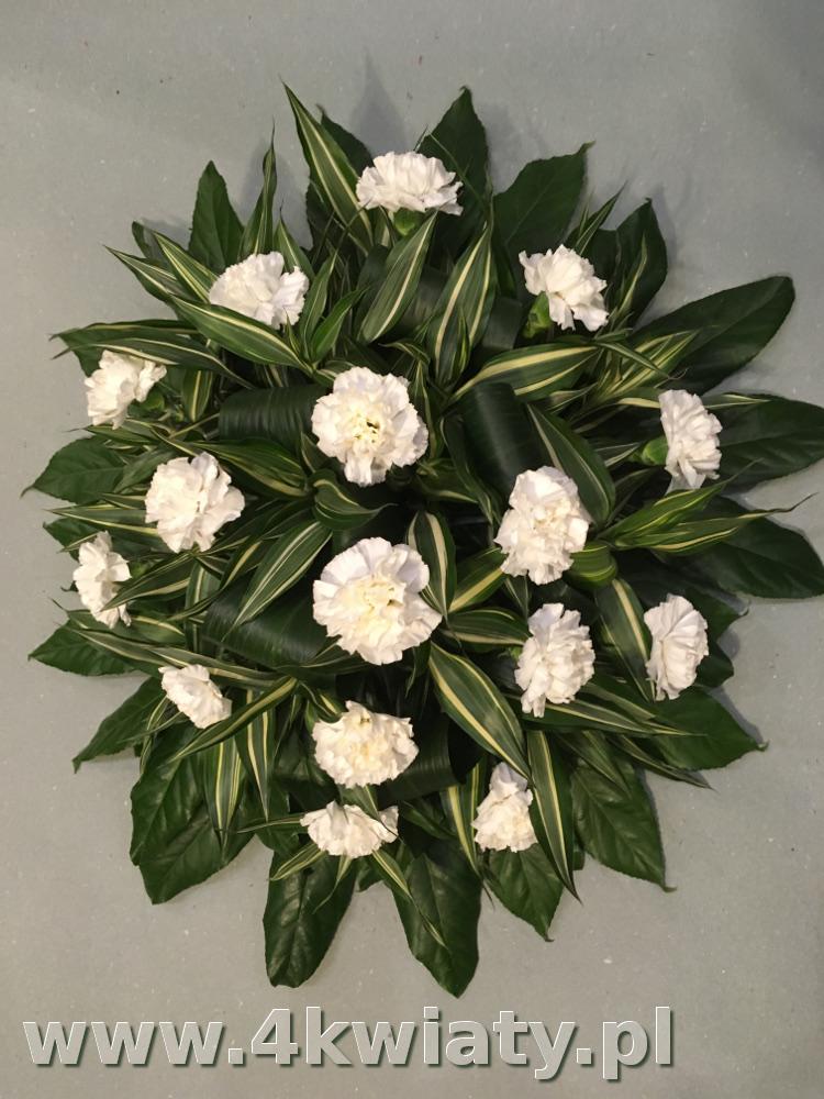 Wiązanka na pogrzeb z żywych kwiatów, białe goździki. Dostawa Warszawa, Legionowo, Nieporęt, Marki