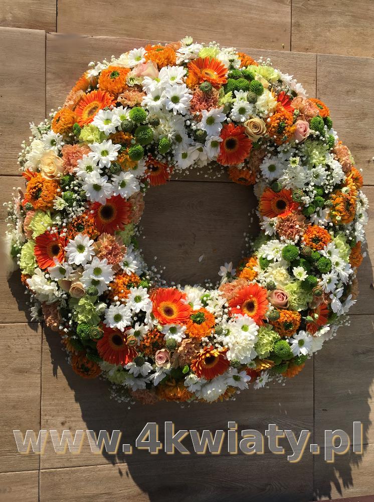 Wieniec pogrzebowy pomarańczowe kwiaty