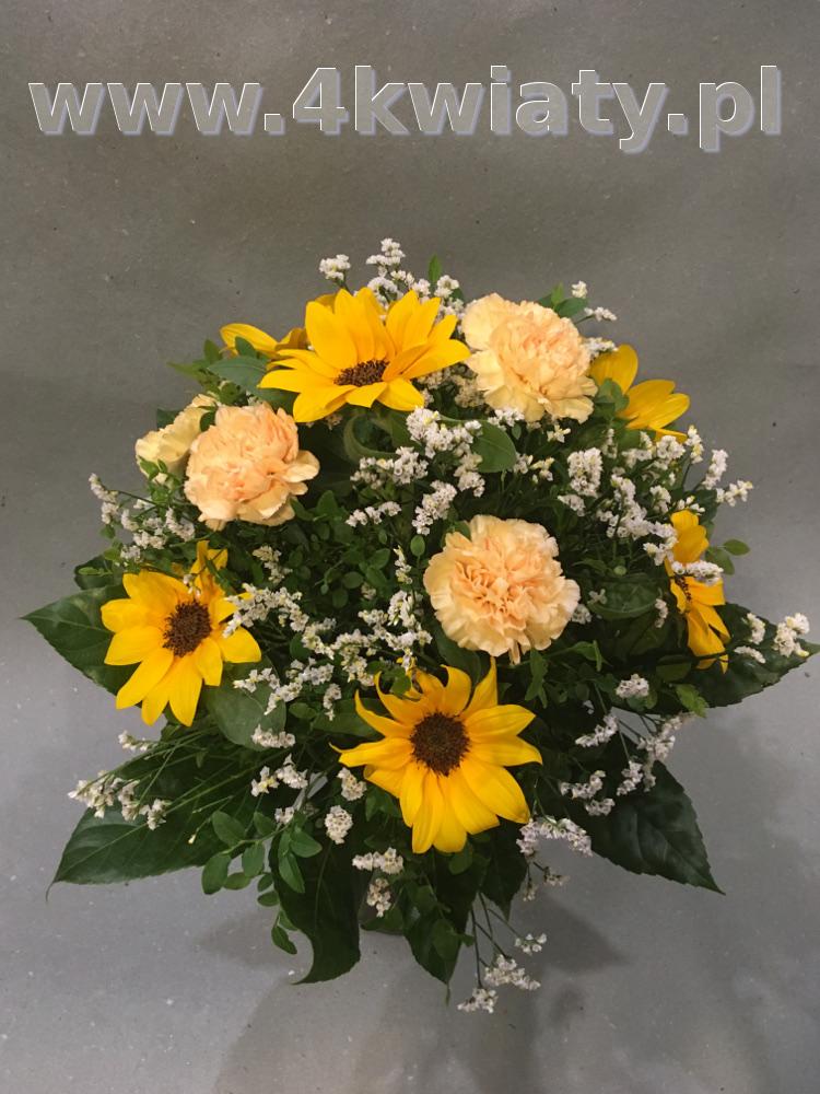 Bukiet ze słonecznikami. Poczta florystyczna kwiatowa niespodzianka.