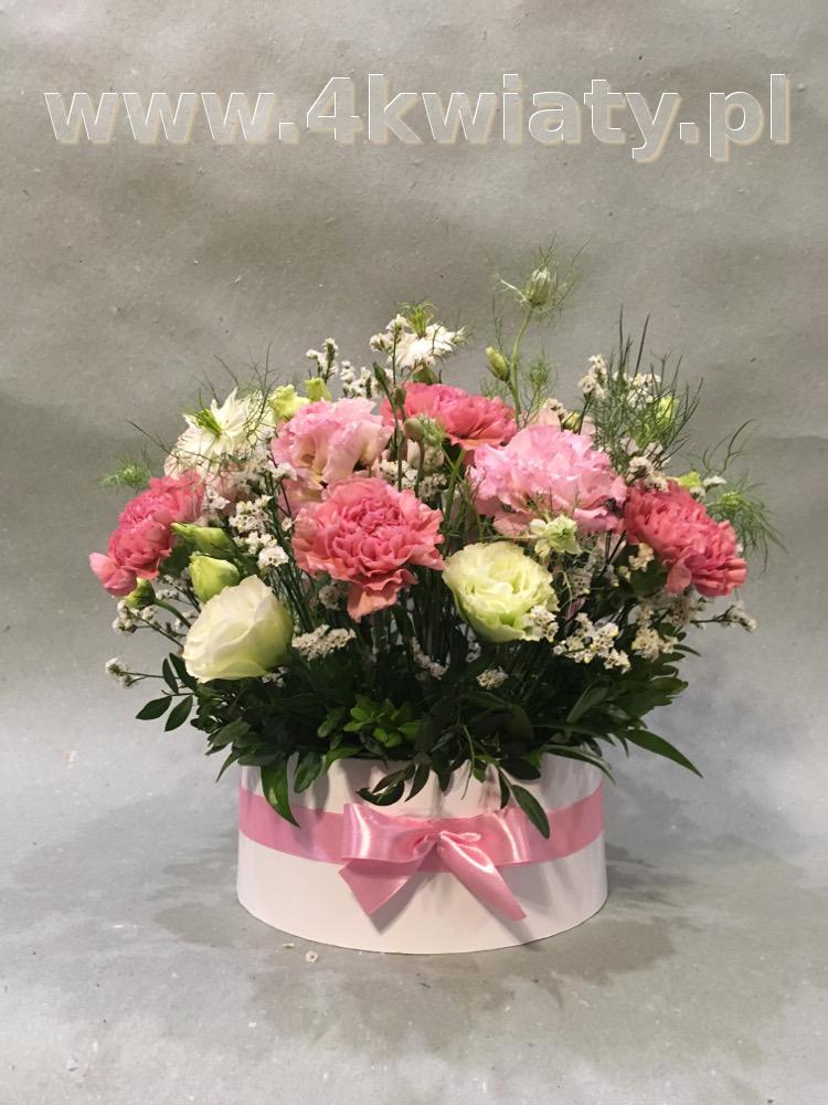 Flowerbox różowy, pudełko z kwiatami. Kwiaty z dostawą