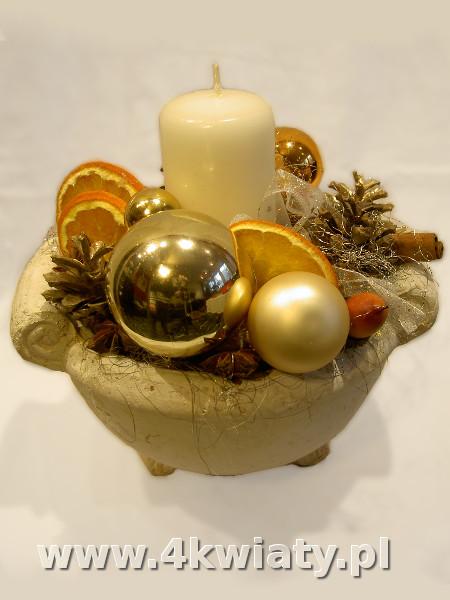 Stroik na Boże Narodzenie z suszu, szyszek, pomarańcze, bombki. Dostawa do domu biura firmy