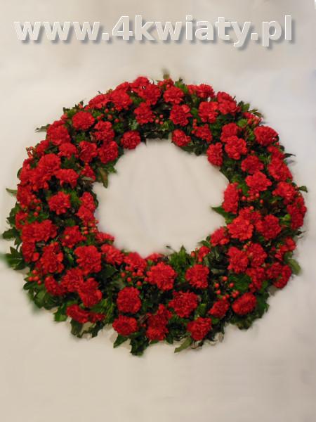 Wieniec na pogrzeb czerwone kwiaty, goździki. Dostawa