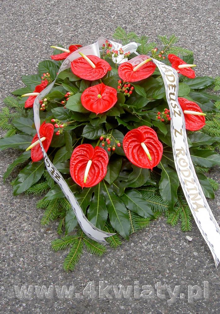 Wiązanka na pogrzeb, kwiaty czerwone anturium