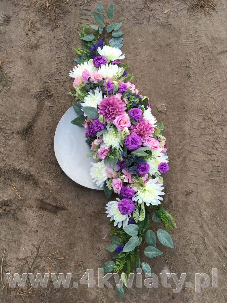 Wiązanka na grób kwiaty sztuczne wysokiej jakości. Białe, rózowe