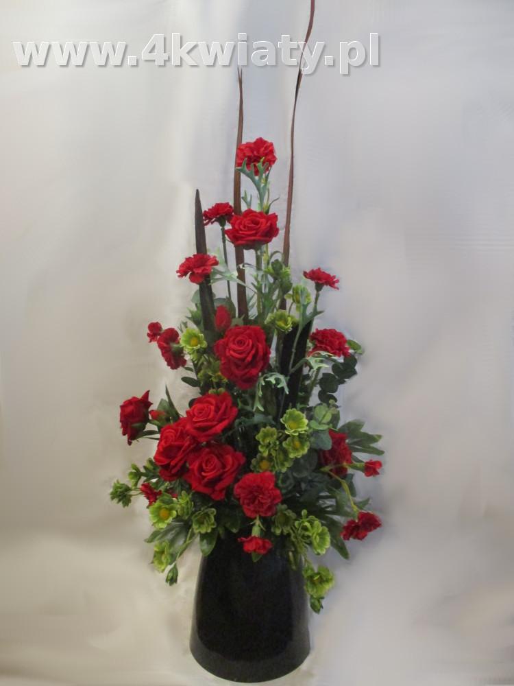 Sztuczne kwiaty czerwone do wazonu na grób