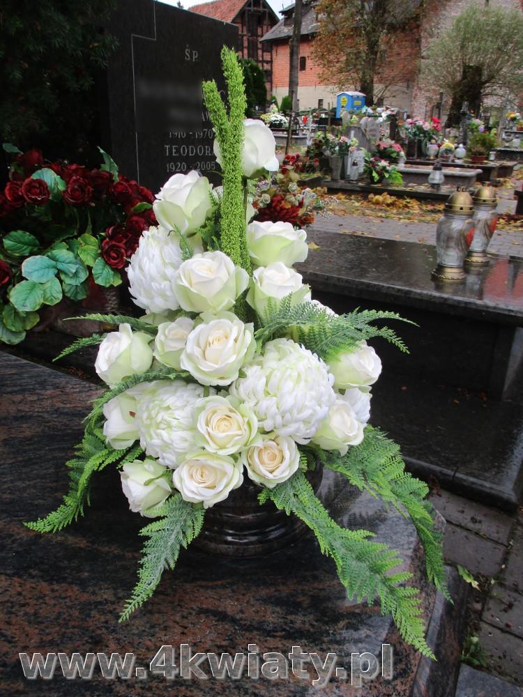 Kwiaty sztuczne do misy na grób, chryzantemy, róże, paproć