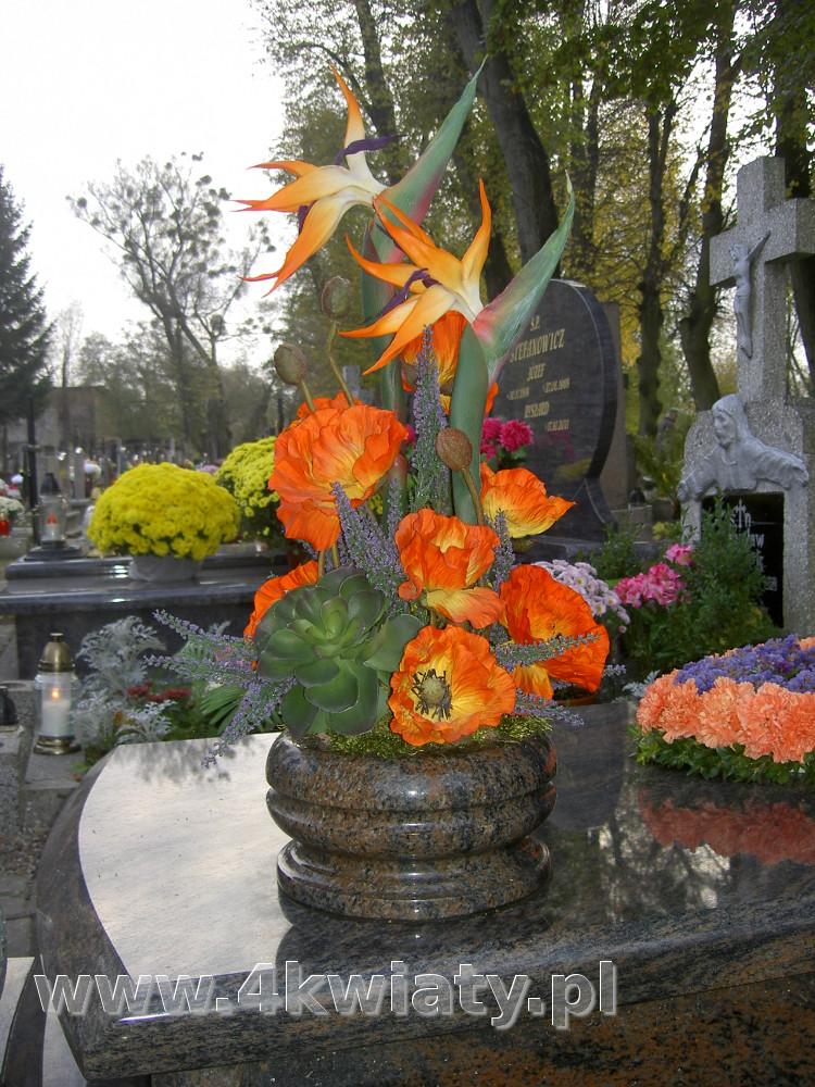 Sztuczne kwiaty do misy na grób. Wiązanka kwiaty pomarańczowe, strelicje