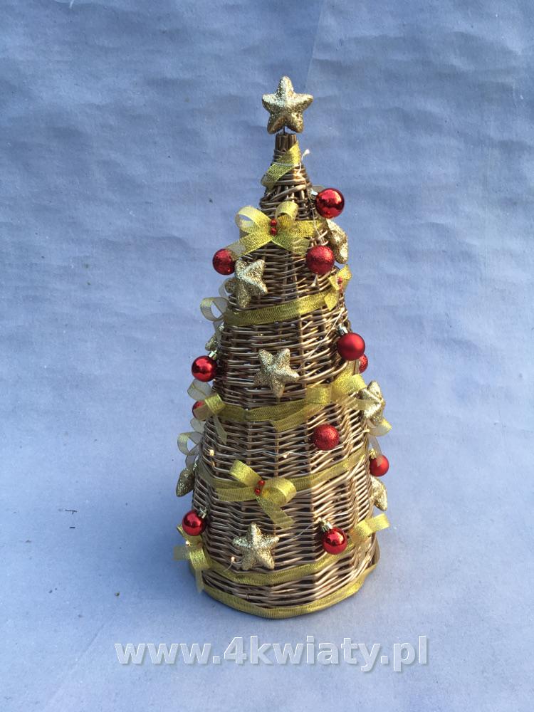 Stroik bożonarodzeniowy choinka z wikliny złoty