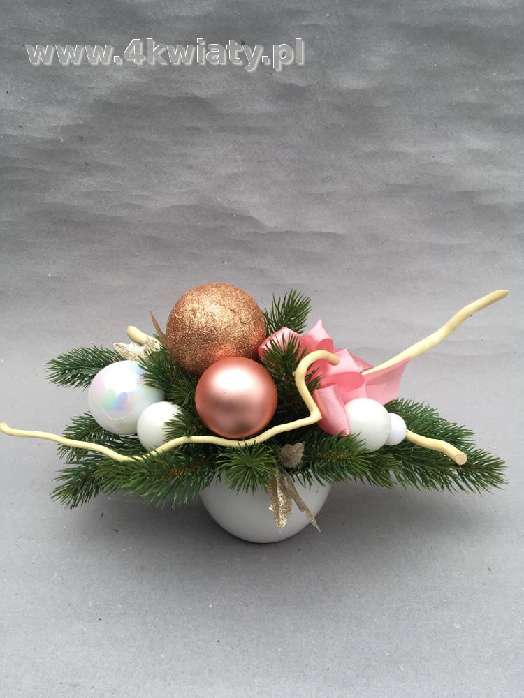 Stroik bożonarodzeniowy świąteczny na sztucznym igliwiu naczynie ceramiczne ozdobne gałązki