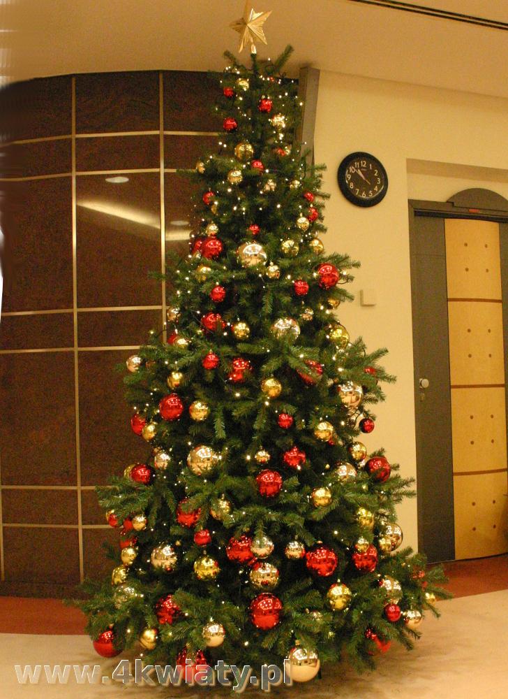 Choinka z dostawą, dekoracje złote czerwone, sztuczna, choinka do biura, do firmy, choinka Warszawa, piękna choinka