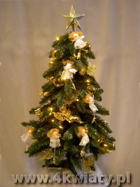 Mała gotowa choinka złote dekoracje sztuczna aniołki bombki gwiazda wysyłka kurier