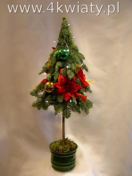 choinka konstruowana z gałązek jodły ubrana na nóżce lampki bombki kwiatki dostawa