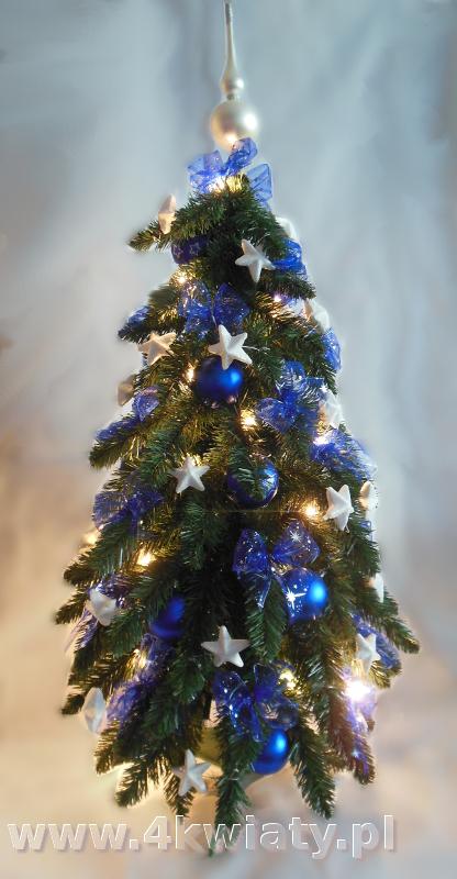 choinka niebieskie i białe dekoracje gwiazdki kokardki wysyłka kurierska sztuczna