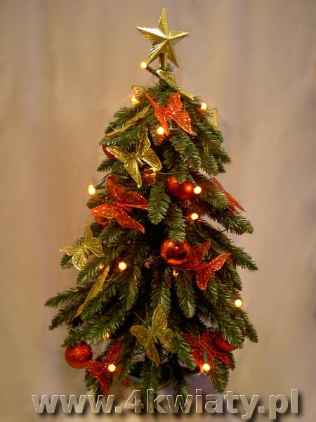 Choinka sztuczna ubrana z wysyłką dekoracje złote i czerwone brokatowe motyle