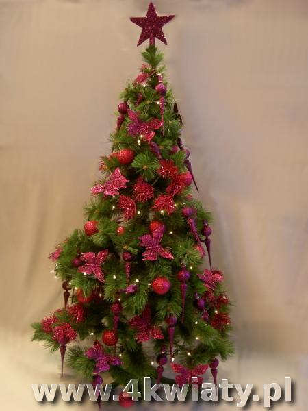 choinka ubrana różowe dekoracje jednokolorowa sztuczna