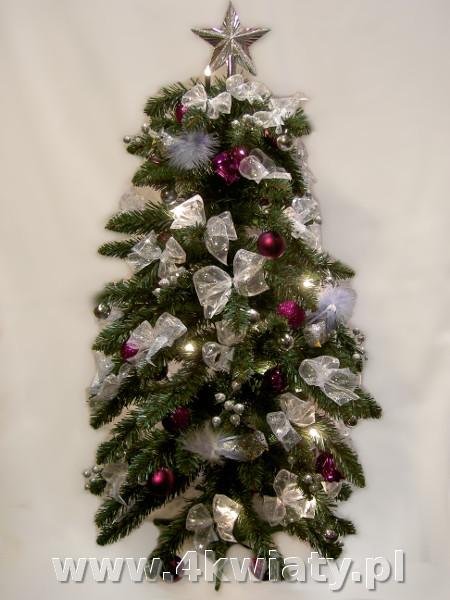 choinka wysyłka dekoracje srebrne i różowe kokardki bombki mała sztuczna
