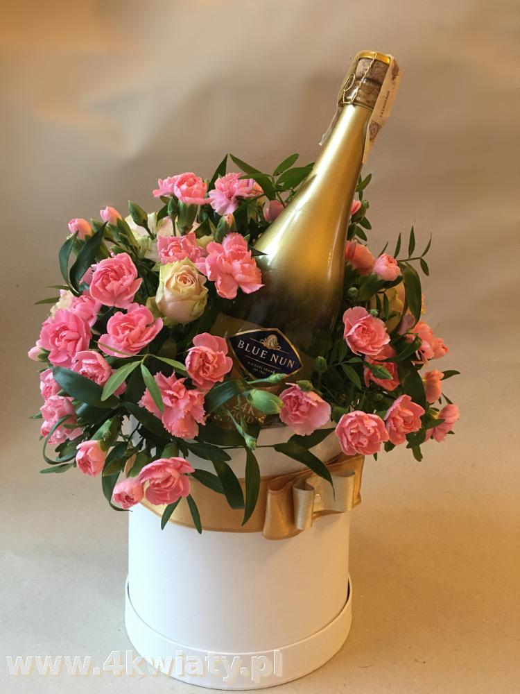 Flowerbox box pudełko z kwiatami z winem szampan, rocznica, imieniny, urodziny kwiaty, Dzień Kobiet
