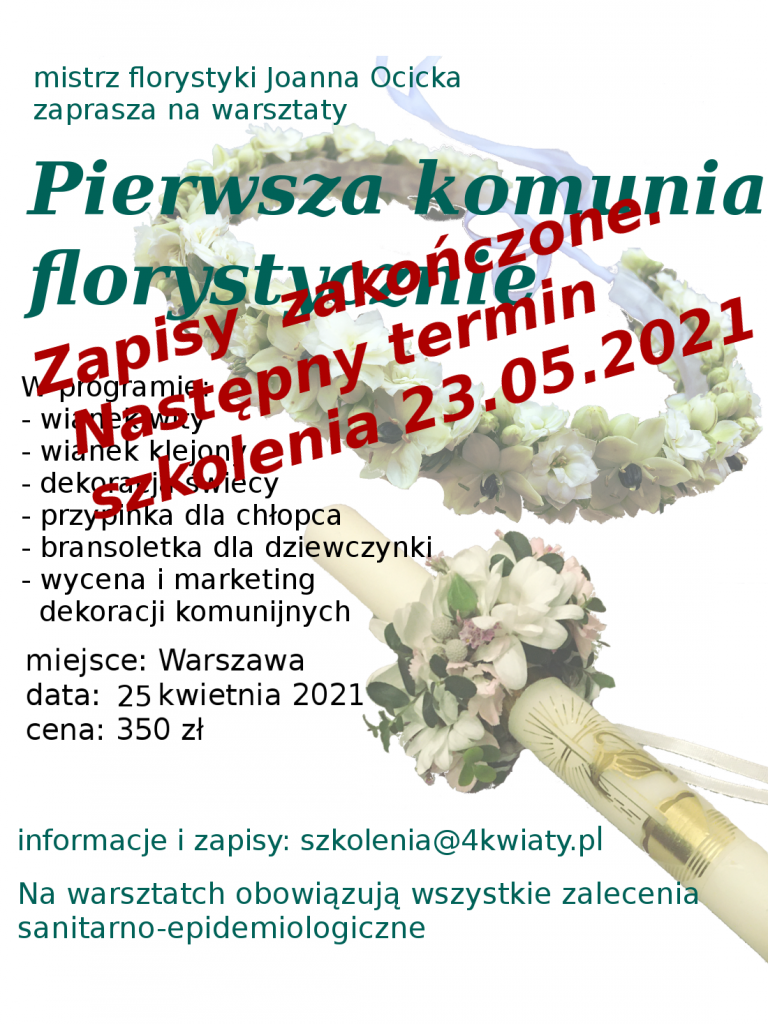 Warsztaty florystyczne, kurs florystyczny podstawowy zaawansowany pierwsza komunia wianki szkolenie